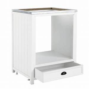 Meuble Pour Four : meuble bas de cuisine pour four en bois blanc l 70 cm newport maisons du monde ~ Teatrodelosmanantiales.com Idées de Décoration
