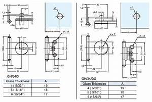 Sugatsune gh-34-0 ; gh 34 0 Inset Glass Door Hinge