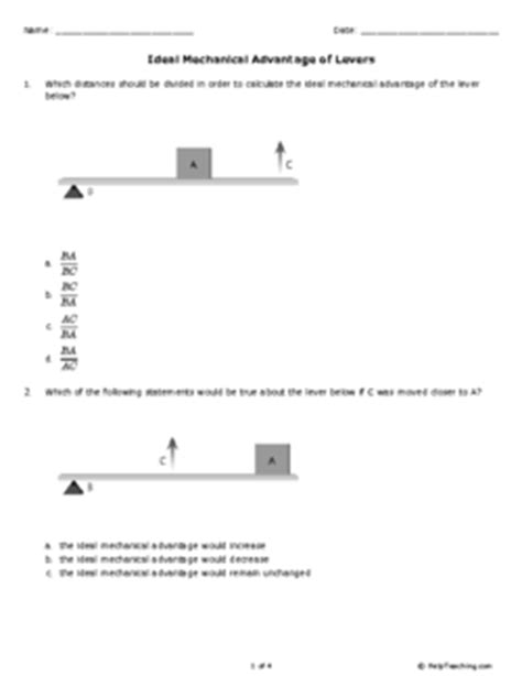 Ideal Mechanical Advantage Of Levers (grade 7)  Free Printable Tests And Worksheets