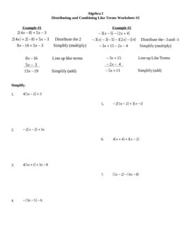distributing and combining like terms worksheet 2 by