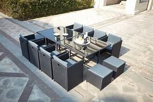 Table De Jardin Resine : table de jardin r sine tress e encastrable noire 12 places miami ~ Teatrodelosmanantiales.com Idées de Décoration