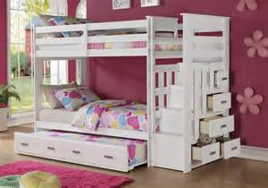 1perfectchoice allentown youth bunk bed storage stairway drawers trundle white