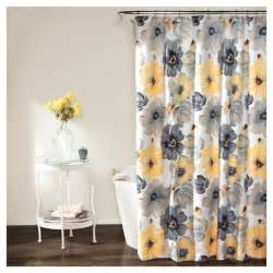 leah floral shower curtain yellow gray lush decor 174 target