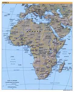 Large detailed political map of Africa with relief ...