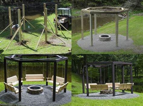 backyard pit diy backyard fire pit with swing seats