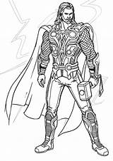 Thor Coloring Lightning Norse Demigod Gods King Related Mcqueen sketch template