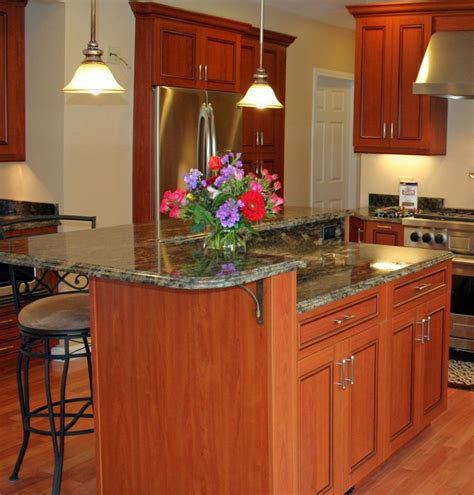 kitchen island with 2 levels for the home