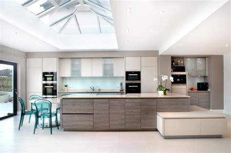 Open Plan, Matt Cashmere & Grey Wood Effect Kitchen With