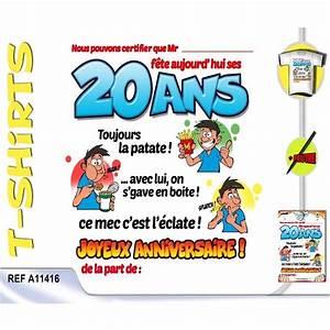 Cadeau Homme 22 Ans : t shirt anniversaire certifi 20 ans homme ~ Teatrodelosmanantiales.com Idées de Décoration