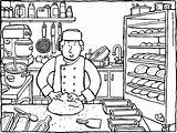 Baking Bread Baker Coloring Pages Colouring Food Kiddi Kleurprenten sketch template