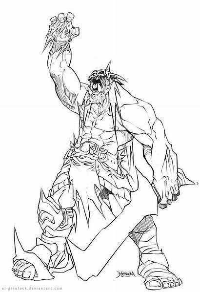Orc Grimlock Coloring Sketch Deviantart Drawing Drawings