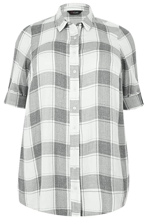 Date Post Jenny Template Responsive by Grey White Checked Shirt With Metallic Thread Plus Size