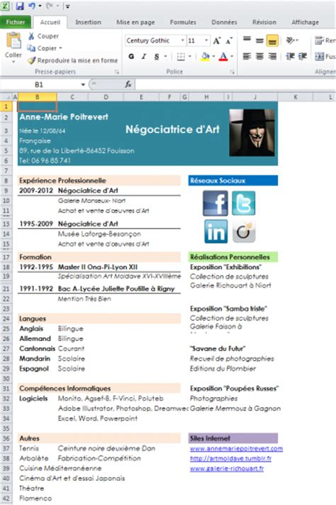 Excel Curriculum Vitae Template by T 233 L 233 Charger Mod 232 Le De Cv Excel Pour Windows Freeware