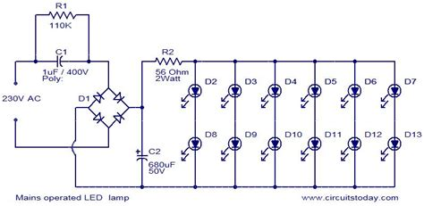 mains operated led l electronic circuits and diagrams