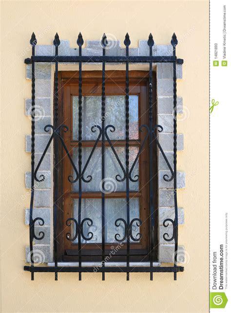 window  iron security bars stock  image