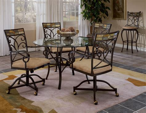 scrolling  piece dining set  casters  hillsdale
