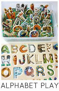 alphabet puzzle activity sensory play and rice sensory bin With letter puzzle for kids