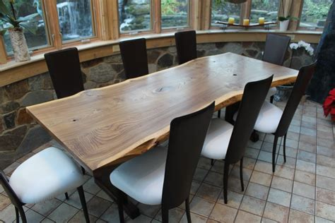 hand crafted  edge english elm slab dining table
