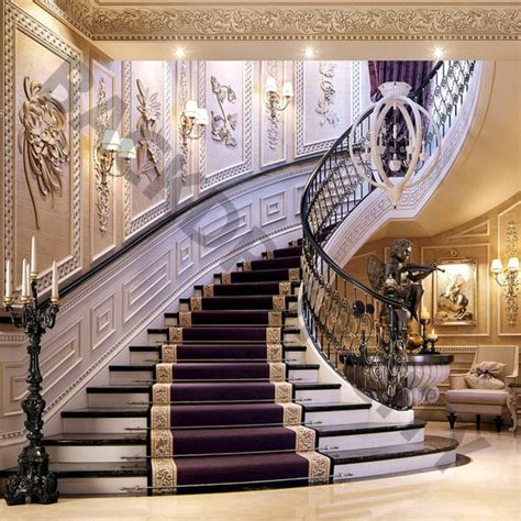 purple mansion stair backdrop backdrop city