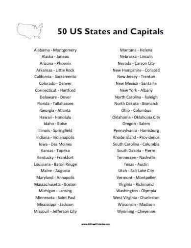 states  capitals list  printable states