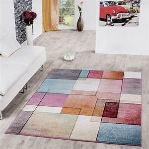 Teppiche Wohnzimmer : teppich karo multicolour bunt kurzflor designer model top ~ Pilothousefishingboats.com Haus und Dekorationen