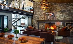 Modern industrial living room, rustic industrial living