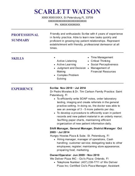 Scribe Resume by Scribe Systems Scribe Resume Sle Orlando