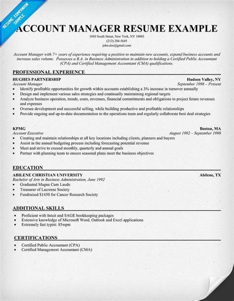 account manager resume sle resume sles across all