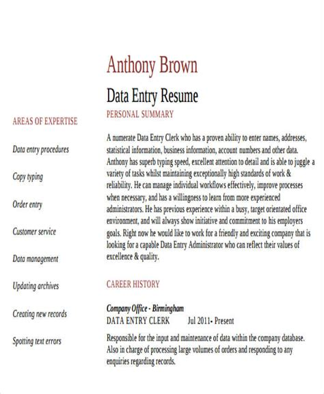 Data Entry Clerk Resume by 25 Printable Work Resume Templates Free Premium Templates