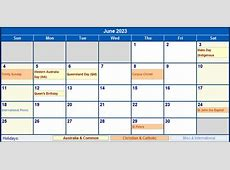 June 2023 Australia Calendar with Holidays for printing