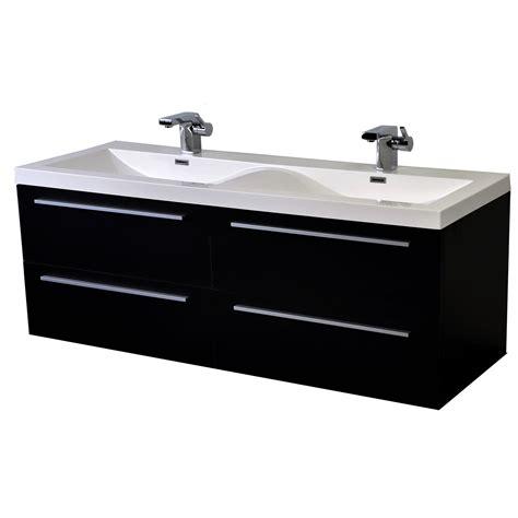 57 Inch Modern Double Sink Vanity Set With Wavy Sinks
