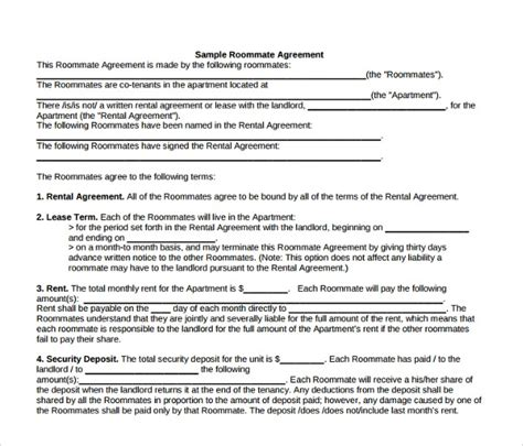 room lease agreement templates samples examples