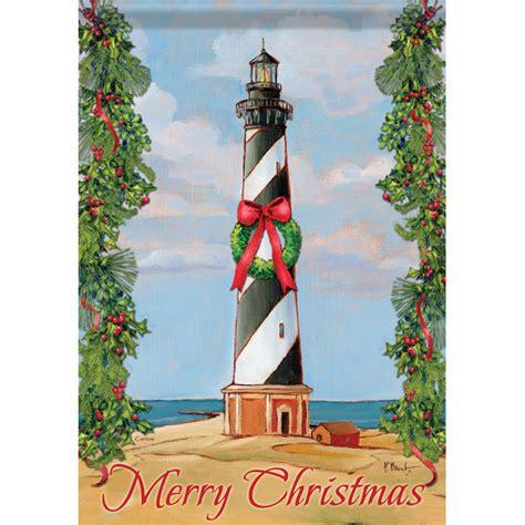 beach christmas lighthouse garden flag