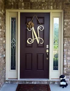 Metal initial door wreath w ribbon front door wreaths for Letters to hang on front door