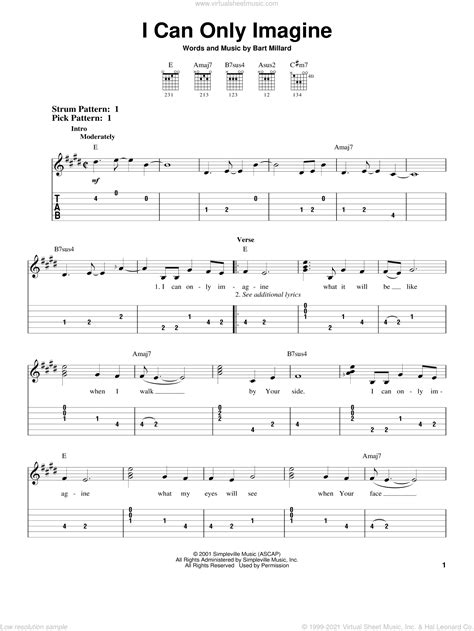 Mercyme I Can Only Imagine Sheet Music For Guitar Solo