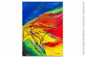 Tableau Coloré Moderne : tableau color fait main temp te de feu ~ Teatrodelosmanantiales.com Idées de Décoration