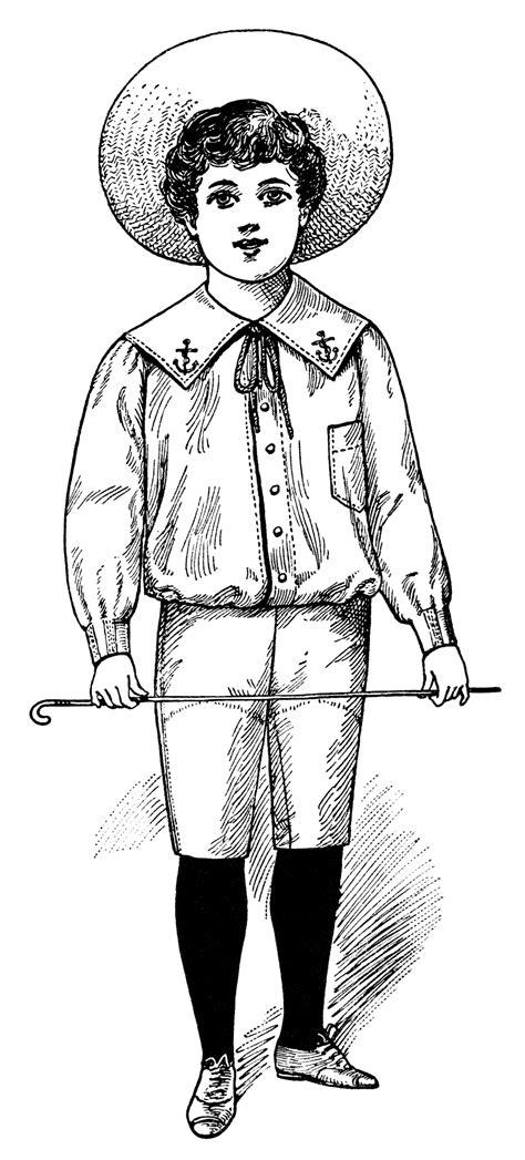 How To Draw A Victorian Boy by Victorian Boy Summer Fashion 1900 Free Vintage Clip Art