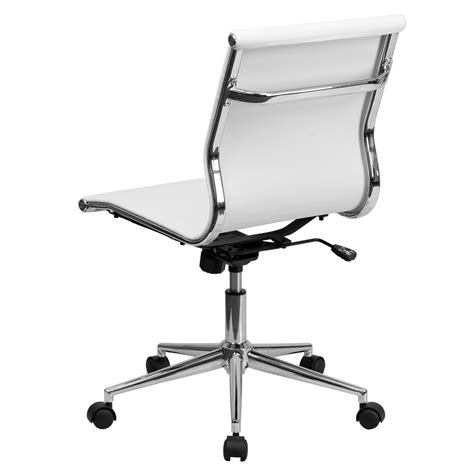 mid back armless white ribbed upholstered leather