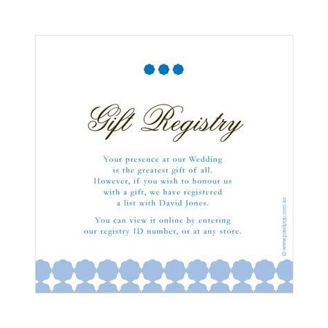 wording  wedding gift registry