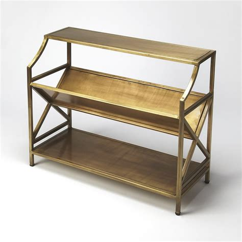gold metal bookcase shop butler specialty industrial chic antique gold metal 2