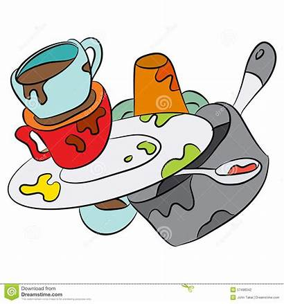 Dishes Dirty Cartoon Clipart Sink Vector Dreamstime