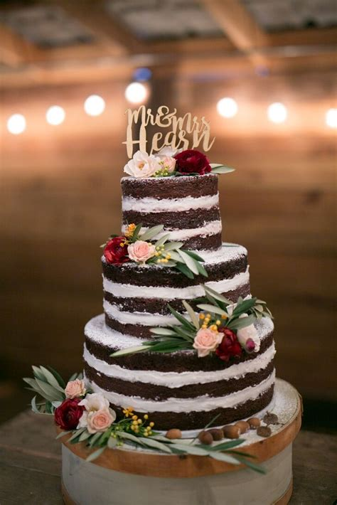 chocolate naked cake  personalized cake topper