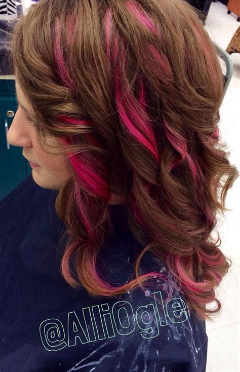 Magentapink Highlights Light Brown Hair H A I R Z