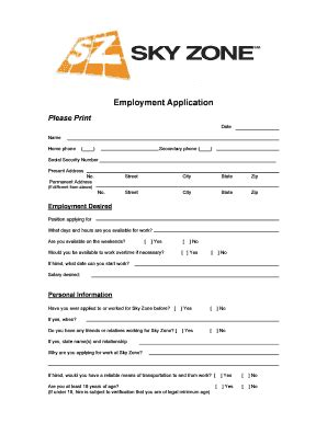 sky zone waiver form sky zone application fill printable fillable