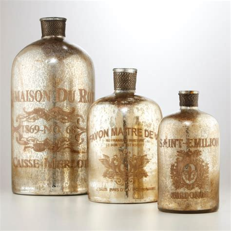 etched mercury glass bottles contemporary home decor by cost plus world market