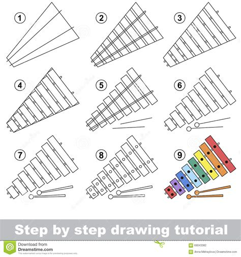 xylophone drawing tutorial stock vector illustration