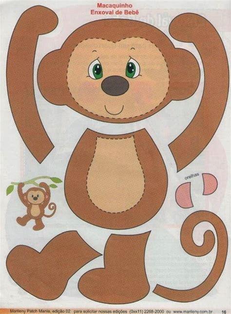 monkey applique macaco feltro molde projetos ps page