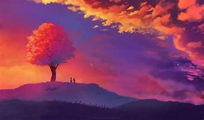 Sunset Nature Painting Tree Colorful Landscape Illustration