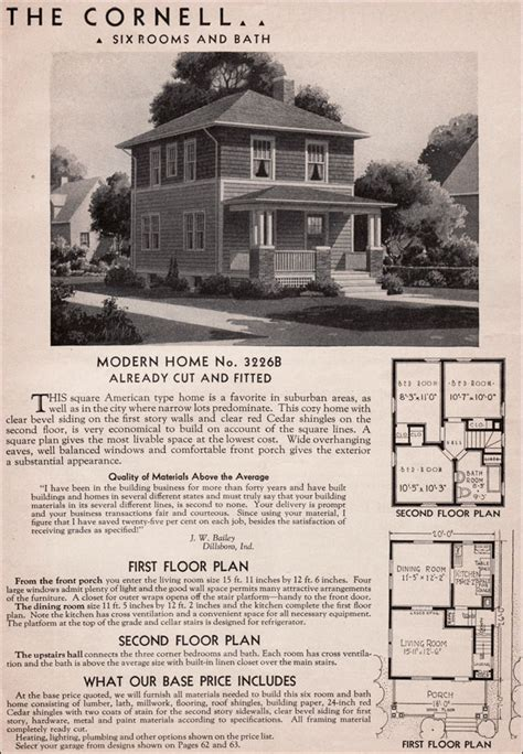 sears kit homes  cornell american foursquare house plan