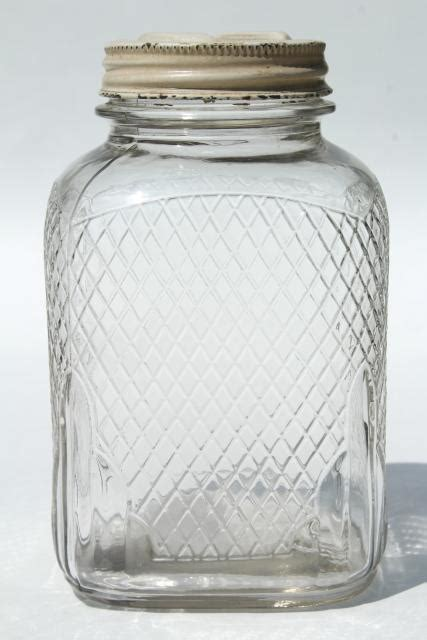 vintage waffle glass hoosier jars  square glass